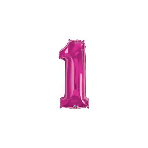 """Számos lufi 34"""" 86cm óriás rózsaszín fólia szám 1, Héliummal töltve, 30555"""