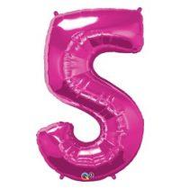 """Számos lufi 34"""" 86cm óriás rózsaszín fólia szám 5, Héliummal töltve, 30571"""