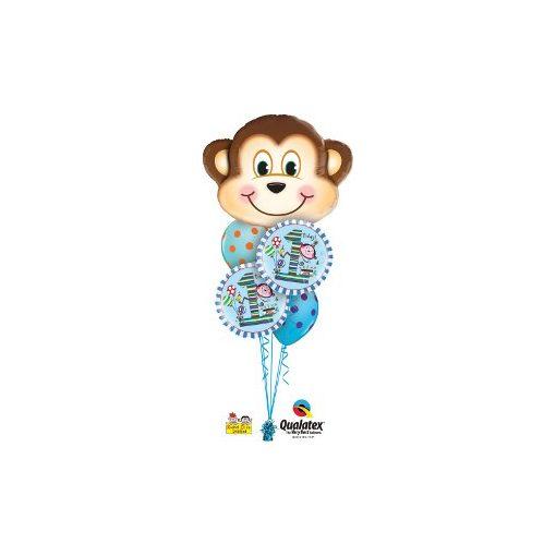 Héliumos luficsokor szülinapra, majom, választható számjeggyel - INGYENES KISZÁLLÍTÁSSAL
