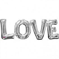 Fólia lufi - LOVE ezüst felirat, csak levegővel tölthető, 63x22cm, 07-3310101