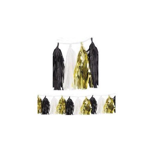 Rojtos girland, dekor füzér, 274cm fekete-fehér-arany, p62951