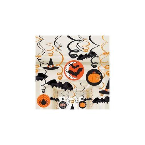Denevérek, Tökök És Pókok Spirál Függő Dekoráció Halloweenre, 30 db-os, a671300