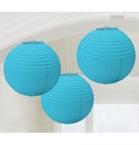Lampion gömb 24cm 3db, türkiz színben a2405554
