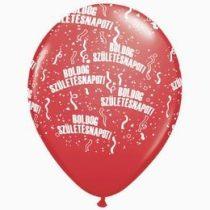 """Szülinapi latex lufi 11"""" 28cm 6db Boldog születésnapot! bordó, q48008-5rp"""