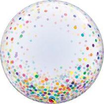 """Deco Bubble lufi 24"""" 61cm krisztálytiszta, átlátszó, színes konfetti mintával, Héliummal töltve, 57791"""