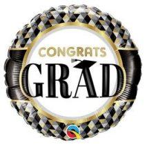 """Ballagási fólia lufi 18"""" 45cm Congrats grad, 55836, héliummal töltve"""