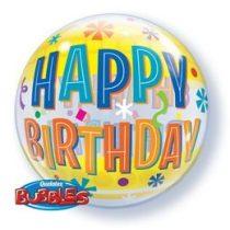 """Szülinapi Bubbles lufi 22"""" 56cm Héliummal töltve Happy Birthday, 16657"""
