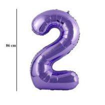 """Számos lufi 34"""" 86cm óriás lila fólia szám, számjegy 2-es, Héliummal töltve"""