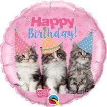 """Szülinapi fólia lufi 18"""" 45cm Happy Birthday, cicák, 57623, héliummal töltve"""