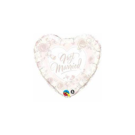 """Esküvői fólia lufi 18"""" 45cm Just Married, szív, 31082, héliummal töltve"""