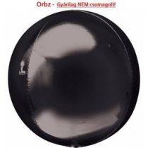 """Egyszínű fólia gömb lufi 24"""" 60cm fekete Orbz XL, héliummal töltve"""