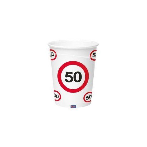 Papírpohár sebességkorlátozó 50-es számmal, 250ml 6db, 20789