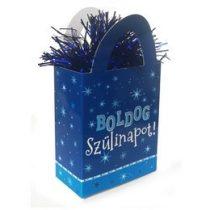Léggömbsúly, nehezék 120g ajándéktasak forma, kék, Boldog Szülinapot, 25279