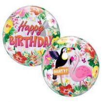 """Szülinapi Bubbles lufi 22"""" 56cm Héliummal töltve Happy Birthday, Tropical, 87740"""