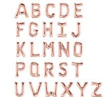 """Betű lufi 16"""" 40cm rosegold fólia betű, D betű, levegővel tölthető"""