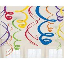 Spirális függő dekoráció színes, rainbow 55cm 12db a67056-90-55