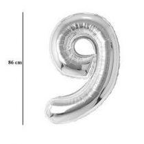"""Számos lufi 34"""" 86cm óriás ezüst fólia szám, számjegy 9-es Héliummal töltve, 30433"""