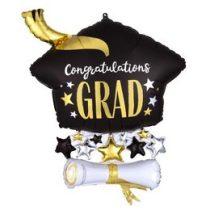 """Ballagási óriás fólia lufi 25"""" 63cm,  Congratulations Grad, 4091501, héliummal töltve"""
