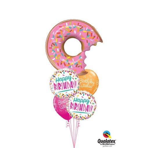 Héliumos luficsokor szülinapra, fánk, Happy Birthday - INGYENES KISZÁLLÍTÁSSAL