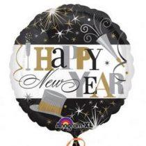 "Fólia lufi 18"" 45cm Happy New Year, 2603101, héliummal töltve"