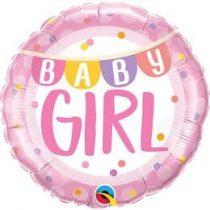 "Fólia lufi babaszületésre 18"" 45cm - Baby girl, 85851, héliummal töltve"