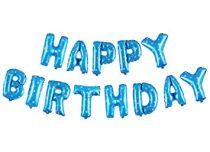 """Happy Birthday felirat, kék 16"""" fólia betűk, fehér csillagokkal, csak levegővel tölthető"""