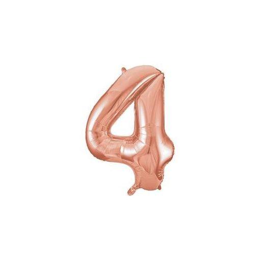 """Számos lufi 34"""" 86cm óriás Rose Gold fólia szám, számjegy 4-es Héliummal töltve, 55874"""