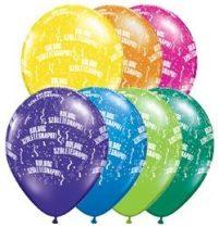 """Szülinapi latex lufi 11"""" 28cm 6db Boldog születésnapot!, fantasy színek, 48008farp"""