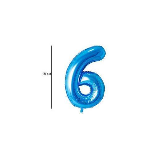 """Számos lufi 34"""" 86cm óriás kék fólia szám 6, Héliummal töltve, 30535"""