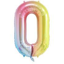 """Számos lufi 34"""" 86cm óriás Rainbow, színes, fólia szám, számjegy 0 Héliummal töltve"""