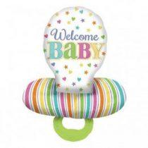 """Óriás fólia lufi 29""""  73cm Welcome Baby, cumi, 30952, héliummal töltve"""