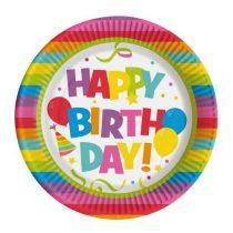 Papírtányér Happy Birthday 22,5cm 10db