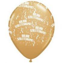 """Szülinapi latex lufi 11"""" 28cm 6db Boldog születésnapot! arany, q48008-6rp"""