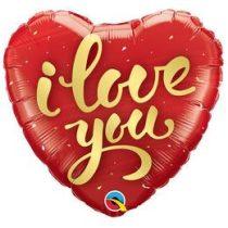 """Fólia lufi 18"""" 45cm """"Love you"""" szív, 78541, héliummal töltve"""