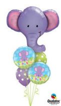 Héliumos luficsokor, baba születésre, baby boy, elefánt - INGYENES KISZÁLLÍTÁSSAL