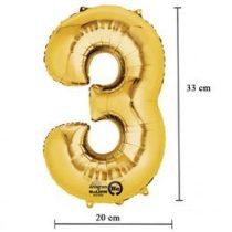 """Számos lufi 16"""" (40cm) fólia szám, számjegy 3 levegővel tölthető, arany, 3308101"""