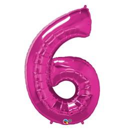 """Számos lufi 34"""" 86cm óriás rózsaszín fólia szám 6, Héliummal töltve, 30575"""