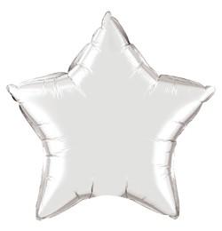"""Egyszínű csillag fólia lufi 20"""" 50cm Silver, ezüst csillag, 12630, héliummal töltve"""