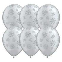 """Mintás latex lufi 11"""" 28cm ezüst, hópehely, Snowflake, 80170"""