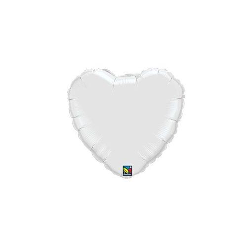 """Egyszínű szív fólia lufi 18"""" 45cm fehér szív, 23762, héliummal töltve"""