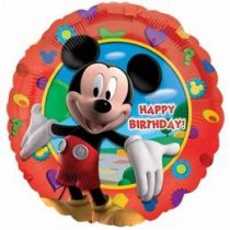 """Szülinapi fólia lufi 18"""" 45cm Happy Birthday, Mickey Mouse, 1405501, héliummal töltve"""
