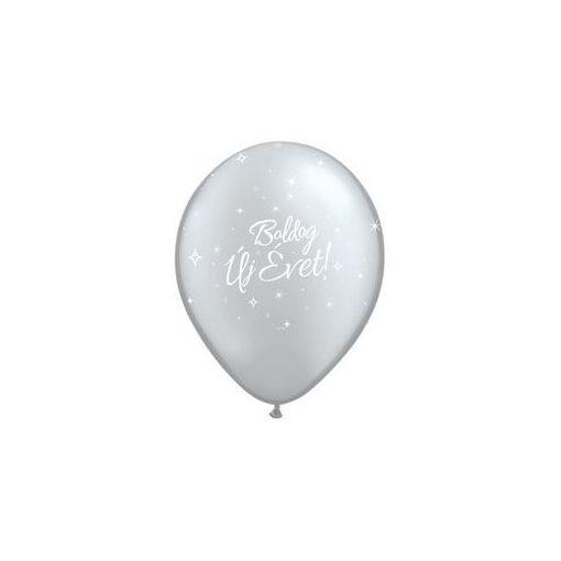 """Szilveszter latex lufi 11"""" 28cm  6db ezüst Boldog Új Évet szilveszteri lufi, 32919"""