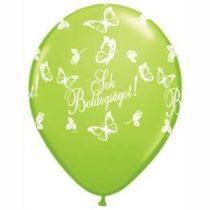 """QUALATEX 11"""" (28cm-es) -  25db/csomag - Sok boldogságot! lime green, limezöld esküvői lufi, 824034-2"""
