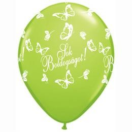 """QUALATEX 11"""" (28cm-es) -  25db/csomag - Sok boldogságot! lime green, limezöld esküvői lufi, q824034-2"""