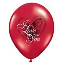 "Latex lufi 11"" 28cm szív, 6db, I love you, áttetsző rubinvörös, 23400"