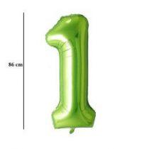 """Számos lufi 34"""" 86cm óriás zöld fólia szám, számjegy 1-es Héliummal töltve"""