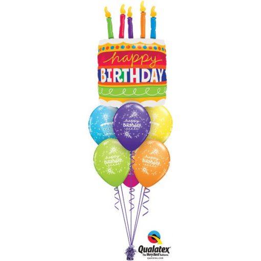 Héliumos luficsokor torta, Happy Birthday - INGYENES KISZÁLLÍTÁSSAL