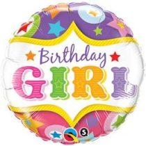 """Szülinapi fólia lufi 18"""" 45cm Birthday Girl, 25228, héliummal töltve"""