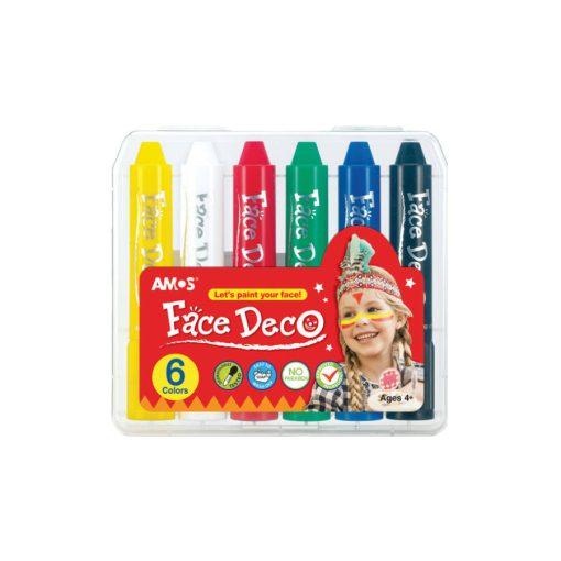 Arcfesték szett, arcfestő, Amos 6 színű, műanyag dobozban, RFEAU056