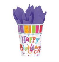 Papírpohár 2,5dl, 8db, Radiant, Happy Birthday, 589980